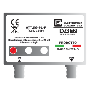 attenuatore di segnale regolabile di 20 db per segnale tv terrestre in versione da palo e connettore effe