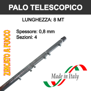 palo per antenna tv telescopico da 8 metri