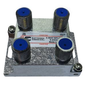 splitter satellitare a 3 vie con connettore verticale