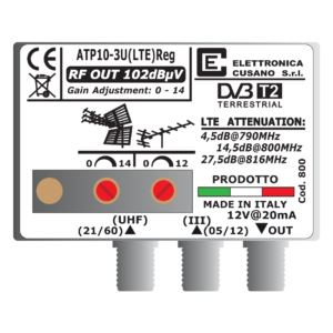 amplificatore antenna da 10 db con ingresso vhf e uhf e filtro lte