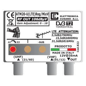amplificatore antenna con 1 uhf e un ingresso vhf miscelato da 20db