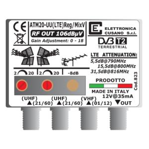 amplificatore antenna con 2 uhf e un ingresso vhf miscelato da 20db