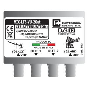 miscelatore di segnale vhf uhf a 2 uscite con filtro lte integrato