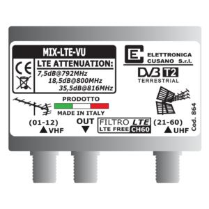 miscelatore di segnale vhf uhf con filtro lte integrato